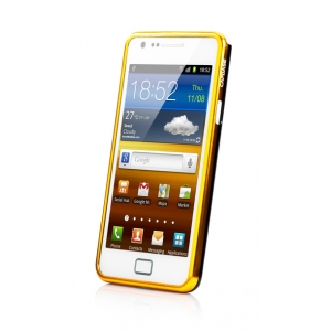 Металлический бампер Capdase Alumor Bumper для Samsung I9100 Galaxy S II / Galaxy S2 Plus GT-I9105 - чёрно-золотой