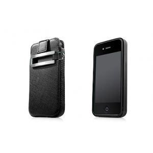 Комплект чехлов - пластик и сумочка Capdase Smart Pocket Value Set for iPhone 4/4S black/black