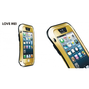 Противоударный, влагозащищенный чехол LOVE MEI POWERFUL small waist для Apple iPhone 5/5S / iPhone SE - champagne