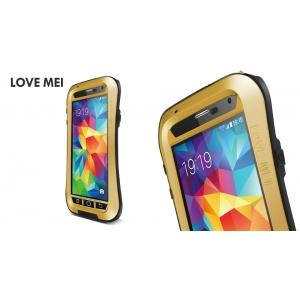 Противоударный, влагозащищенный чехол LOVE MEI POWERFUL Waistline version для Samsung Galaxy S5 - золотистый