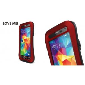 Противоударный, влагозащищенный чехол LOVE MEI POWERFUL Waistline version для Samsung Galaxy S5 - красный