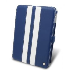 Кожаный чехол Melkco для Apple iPad 3G/Wifi - Limited Edition Book Type Ver.2 - синий с белыми вставками