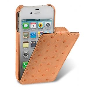 Кожаный чехол, страусиная кожа Melkco для Apple iPhone 4S / 4 - Jacka Type - оранжевый