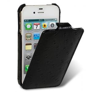 Кожаный чехол, страусиная кожа Melkco для Apple iPhone 4S / 4 - Jacka Type - насыщенный чёрный