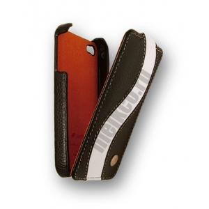 Кожаный чехол Melkco для Apple iPhone 4S/4 - Jacka Type Special Edition - чёрный с белой полосой