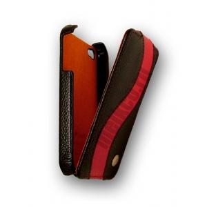 Кожаный чехол Melkco для Apple iPhone 4S/4 - Jacka Type Special Edition - чёрный с красной полосой