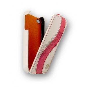 Кожаный чехол Melkco для Apple iPhone 4S/4 - Jacka Type Special Edition - белый с красной полосой