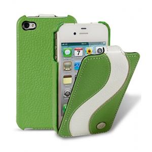 Кожаный чехол Melkco для Apple iPhone 4S/4 - Jacka Type Special Edition - зелёный с белой полосой