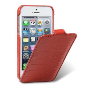 Кожаный чехол Melkco для Apple iPhone 5/5S / iPhone SE - Jacka Type - крокодиловая кожа - красный