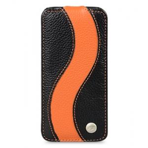 Кожаный чехол Melkco для Sony Xperia Z1 - Jacka Type Special Edition - черный с оранжевой полосой