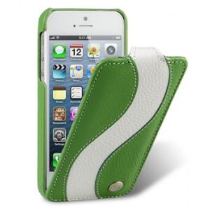 Кожаный чехол Melkco для Apple iPhone 5/5S / iPhone SE - Jacka Type Special Edition - зелёный с белой полосой