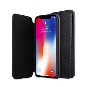 "Кожаный чехол книжка для Apple iPhone XS Max 6.5"" - Elite Series Waxfall Pattern - черный"
