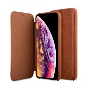 "Кожаный чехол книжка для Apple iPhone XS Max 6.5"" - Elite Series Waxfall Pattern - коричневый"