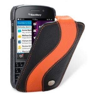 Кожаный чехол Melkco для Blackberry Q10 - Special Edition Jacka Type - черный с оранжевой полосой