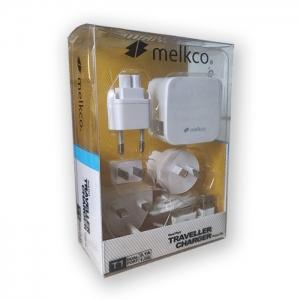 Сетевое зарядное устройство Melkco - T1 (White) с четырьмя сменными штекерами и 2-мя USB выходами