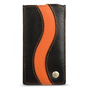 Кожаный чехол Melkco для Blackberry Z10 - Special Edition Jacka Type - чёрный с оранжевой полосой