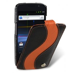 Кожаный чехол Melkco для Samsung Galaxy Nexus I9250 - Special Edition Jacka Type - чёрный с оранжевой полосой