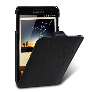 Кожаный чехол, страусиная кожа Melkco для Samsung Galaxy Note GT-N7000 / Note LTE GT-N7005 - Jacka Type - чёрный