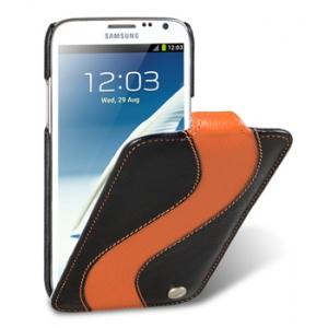 Кожаный чехол Melkco для Samsung Galaxy Note 2 GT-N7100 - Jacka Type Special Edition - чёрный с оранжевой полосой