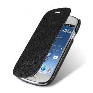 Кожаный чехол книжка Melkco для Samsung Galaxy S3 Mini GT-I8190 - Face Cover Book Type - чёрный