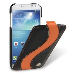 Кожаный чехол Melkco для Samsung Galaxy S4 GT-I9500 - Jacka Type Special Edition - черный с оранжевой полосой