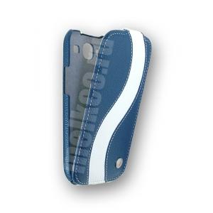 Кожаный чехол Melkco для Samsung Galaxy SIII GT-I9300 - Special Edition Jacka Type - синий с белой полосой