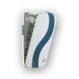 Кожаный чехол Melkco для Samsung Galaxy SIII GT-I9300 - Special Edition Jacka Type - белый с синей полосой