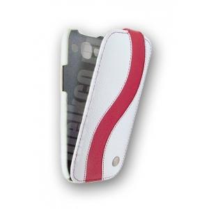 Кожаный чехол Melkco для Samsung Galaxy SIII GT-I9300 - Special Edition Jacka Type - белый с красной полосой