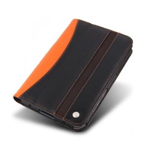 Кожаный чехол Melkco для Samsung Galaxy Tab/Tablet/P1000 - Limited Edition Book Type - черный с оранжевой вставкой