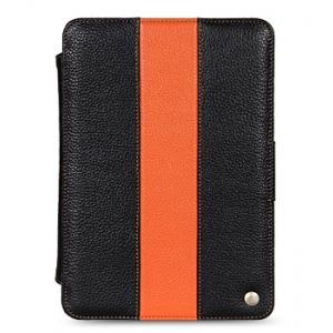 """Кожаный чехол Melkco для Samsung Galaxy Tab 7.7"""" P6800 - LE Kios Type - чёрный с оранжевой полосой"""