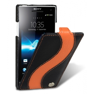 Кожаный чехол Melkco для Sony Xperia S - Jacka Type Special Edition - черный с оранжевой полосой