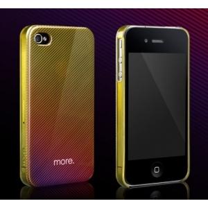 Пластиковый защитный чехол More Duplex Hologram для Apple iPhone 4/4S - прозрачный лимонный