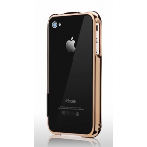 Бампер More Color Gem Lucent Jelly Ring для iPhone 4S / 4 - золотой