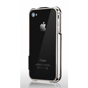 Бампер More Color Gem Lucent Jelly Ring для iPhone 4S / 4 - серебристый