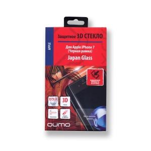Полноэкранное защитное закаленное 3D стекло QUMO для iPhone 7/8 с черной рамкой