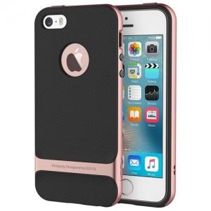 Силиконовый двухкомпонентный чехол Rock Royce Series для Apple iPhone 5/5S / iPhone SE - розово-золотистый