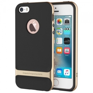Силиконовый двухкомпонентный чехол Rock Royce Series для Apple iPhone 5/5S / iPhone SE - золотистый