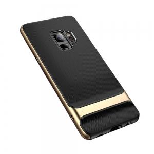 Двухкомпонентный силиконовый TPU-PC чехол Rock Royce Series для Samsung Galaxy S9 - черно-золотистый