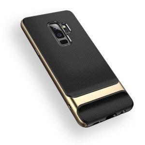 Двухкомпонентный силиконовый TPU-PC чехол Rock Royce Series для Samsung Galaxy S9+ - черно-золотистый