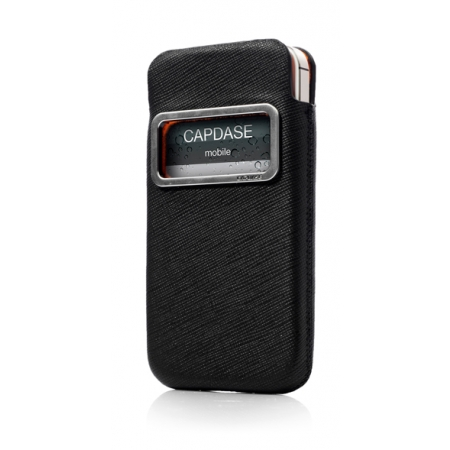 Чехол Capdase id Pocket Luxe для Apple iPhone 4 / 4S - с окошком - чёрный