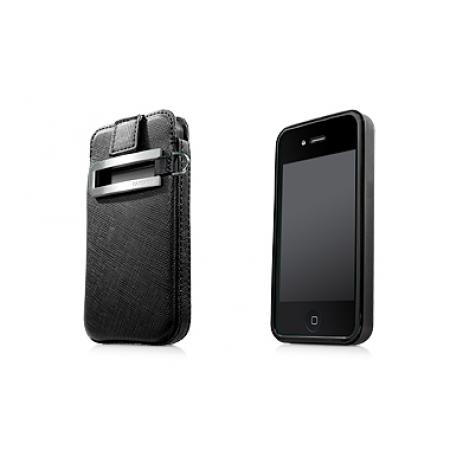 Комплект чехлов - пластик и сумочка Capdase Smart Pocket Value Set for iPhone 4/4S black/black