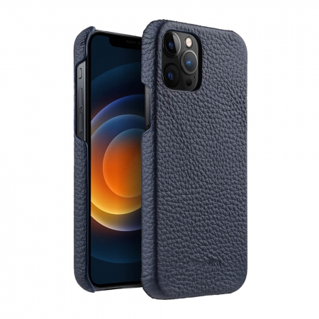 "Кожаный чехол накладка Melkco для Apple iPhone 12 Pro Max (6.7"") - Snap Cover - темно-синий"