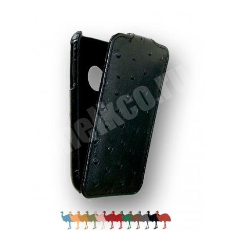 Кожаный чехол, страусиная кожа Melkco для Apple iPhone 3GS/3G - Jacka Type - насыщенный чёрный