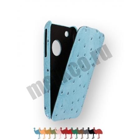Кожаный чехол, страусиная кожа Melkco для Apple iPhone 3GS/3G - Jacka Type - голубой