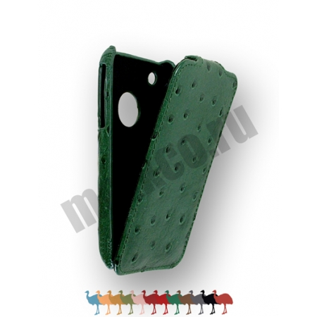 Кожаный чехол, страусиная кожа Melkco для Apple iPhone 3GS/3G - Jacka Type - зелёный