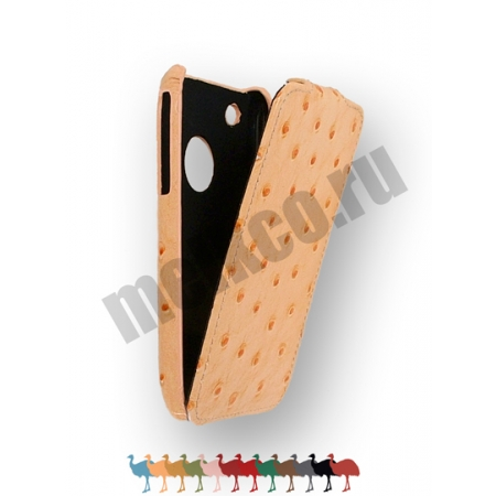 Кожаный чехол, страусиная кожа Melkco для Apple iPhone 3GS/3G - Jacka Type - оранжевый