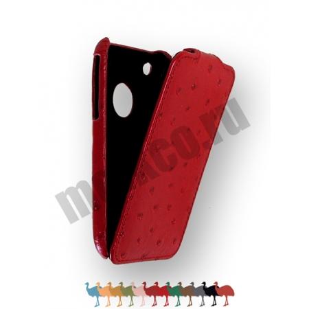 Кожаный чехол, страусиная кожа Melkco для Apple iPhone 3GS/3G - Jacka Type - красный