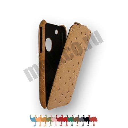 Кожаный чехол, страусиная кожа Melkco для Apple iPhone 3GS/3G - Jacka Type - цвет хаки