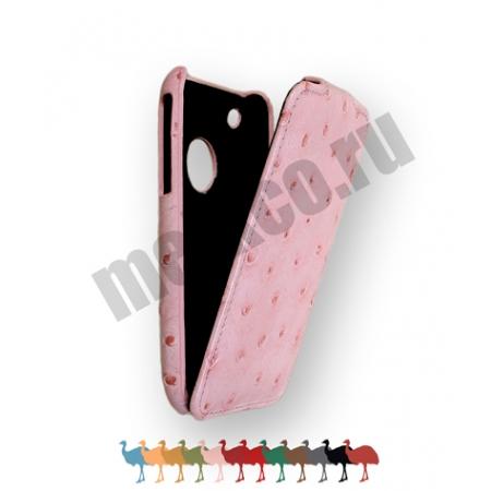 Кожаный чехол, страусиная кожа Melkco для Apple iPhone 3GS/3G - Jacka Type - розовый