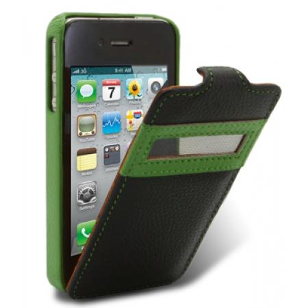 Кожаный чехол Melkco для Apple iPhone 4/4S - Jacka ID Light Type - черно-зеленый